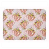 """Tea Cup and Flowers Pink Machine Washable Memory Foam Mat - 19 X 27"""""""
