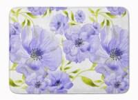"Watercolor Blue Flowers Machine Washable Memory Foam Mat - 19 X 27"""