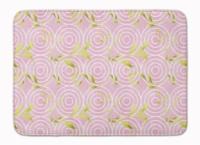 Gemoetric Circles on Pink Watercolor Machine Washable Memory Foam Mat