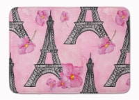 """Watercolor Pink Flowers and Eiffel Tower Machine Washable Memory Foam Mat - 19 X 27"""""""