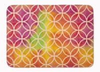 Watercolor Rainbow Geometric Circles Machine Washable Memory Foam Mat
