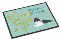 Welcome Friends Black White Collie Indoor or Outdoor Mat 24x36