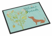 Welcome Friends Red Dachshund Indoor or Outdoor Mat 24x36