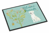 Welcome Friends White Boxer Indoor or Outdoor Mat 18x27