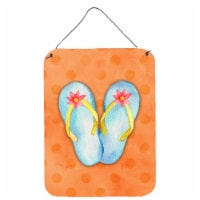 Flip Flops Orange Polkadot Wall or Door Hanging Prints - 16HX12W