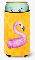 Flamingo Floaty Yellow Polkadot Tall Boy Beverage Insulator Hugger - Tall Boy
