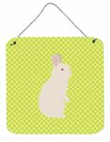 New Zealand White Rabbit Green Wall or Door Hanging Prints - 6HX6W