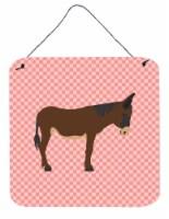 Zamorano-Leones Donkey Pink Check Wall or Door Hanging Prints - 6HX6W