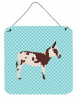 American Spotted Donkey Blue Check Wall or Door Hanging Prints - 6HX6W