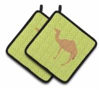 Arabian Camel Dromedary Green Pair of Pot Holders - Standard