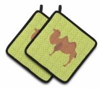 Carolines Treasures  BB7644PTHD Bactrian Camel Green Pair of Pot Holders - Standard