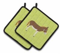 Miniature Mediterranian Donkey Green Pair of Pot Holders - Standard