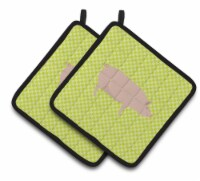 English Large White Pig Green Pair of Pot Holders - Standard