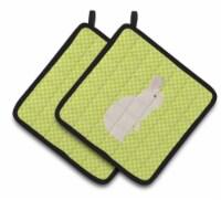 New Zealand White Rabbit Green Pair of Pot Holders - Standard