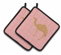 Arabian Camel Dromedary Pink Check Pair of Pot Holders - Standard