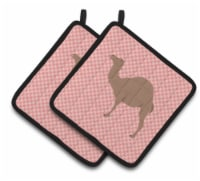 Carolines Treasures  BB7819PTHD F1 Hybrid Camel Pink Check Pair of Pot Holders - Standard