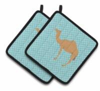Arabian Camel Dromedary Blue Check Pair of Pot Holders - Standard