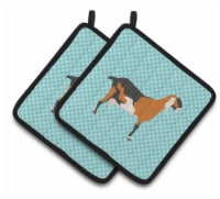 Anglo-nubian Nubian Goat Blue Check Pair of Pot Holders