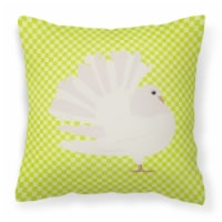 Silver Fantail Pigeon Green Fabric Decorative Pillow
