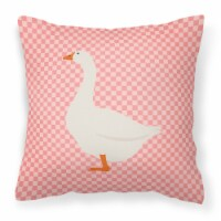 Embden Goose Pink Check Fabric Decorative Pillow - 14Hx14W