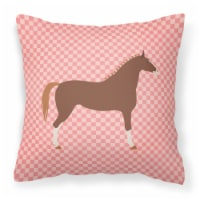 Hannoverian Horse Pink Check Fabric Decorative Pillow
