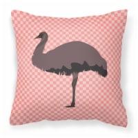 Carolines Treasures  BB7922PW1414 Emu Pink Check Fabric Decorative Pillow