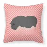 Vietnamese Pot-Bellied Pig Pink Check Fabric Decorative Pillow