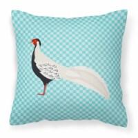 Silver Pheasant Blue Check Fabric Decorative Pillow