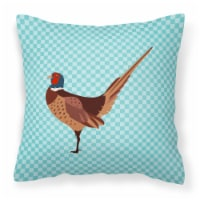 Ring-necked Common Pheasant Blue Check Fabric Decorative Pillow