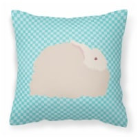 Fluffy Angora Rabbit Blue Check Fabric Decorative Pillow - 14Hx14W