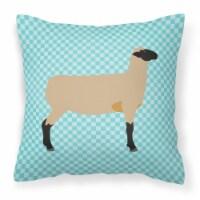 Hampshire Down Sheep Blue Check Fabric Decorative Pillow