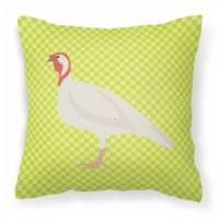 Beltsville Small White Turkey Hen Green Fabric Decorative Pillow