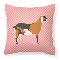 Anglo-nubian Nubian Goat Pink Check Fabric Decorative Pillow