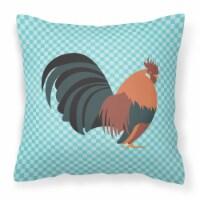 Dutch Bantam Chicken Blue Check Fabric Decorative Pillow - 18Hx18W