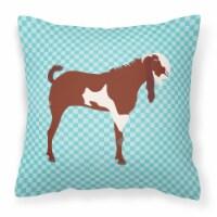 Jamnapari Goat Blue Check Fabric Decorative Pillow - 18Hx18W