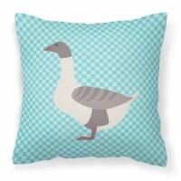 Buff Grey Back Goose Blue Check Fabric Decorative Pillow