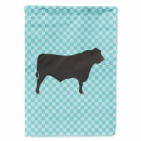 Carolines Treasures  BB8002CHF Black Angus Cow Blue Check Flag Canvas House Size - House Size