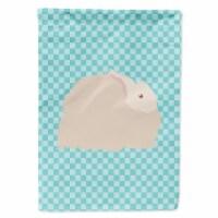Fluffy Angora Rabbit Blue Check Flag Canvas House Size - House Size