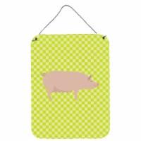 English Large White Pig Green Wall or Door Hanging Prints