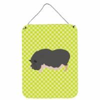 Vietnamese Pot-Bellied Pig Green Wall or Door Hanging Prints - 16HX12W