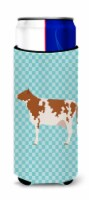 Ayrshire Cow Blue Check Michelob Ultra Hugger for slim cans - Slim Can