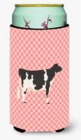 Holstein Cow Pink Check Tall Boy Beverage Insulator Hugger - Tall Boy