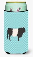 Belted Galloway Cow Blue Check Tall Boy Beverage Insulator Hugger - Tall Boy