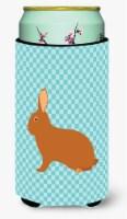 Rex Rabbit Blue Check Tall Boy Beverage Insulator Hugger - Tall Boy