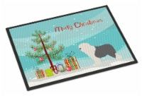 Old English Sheepdog Bobtail Christmas Indoor or Outdoor Mat 18x27 - 18Hx27W