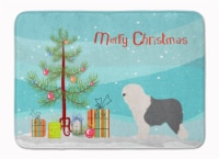 "Old English Sheepdog Bobtail Christmas Machine Washable Memory Foam Mat - 19 X 27"""