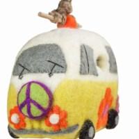 Wild Woolies DZI48407100 Handmade & Fair Trade Felt Birdhouse - Magic Bus
