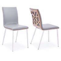 Dining Chair, Brushed Stainless Steel finish with Grey Faux Leather and Walnut Back -Set of 2 - 1