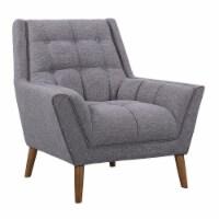 Armen Living Cobra Mid-Century Modern Chair in Dark Gray Linen and Walnut Legs - 1