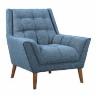 Armen Living Cobra Mid-Century Modern Chair in Blue Linen and Walnut Legs - 1